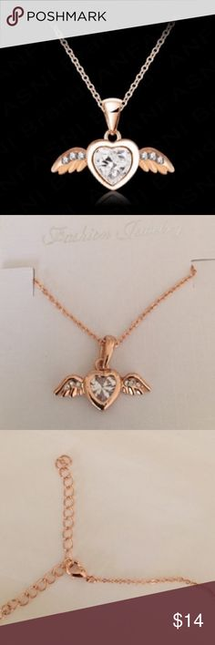 "🌹Super Cute Angel Wings Heart Necklace 🌹 💜Adorable & romantic 18K rose gold plated crystal angel wing heart pendant necklace! Pendant Size: 0.9"" x 0.6""! 💜 Jewelry Necklaces"