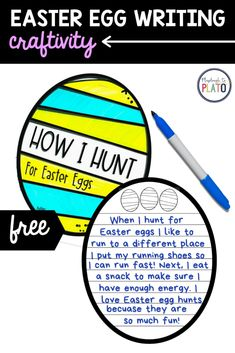 Easter Egg Writing Craftivity for Kindergarten, First Grade or Second Grade. This is perfect for a writing center this spring. Kindergarten Writing Activities, Easter Activities, Playdough To Plato, Snacks To Make, Egg And I, How To Run Faster, Student Work, Second Grade, Easter Eggs