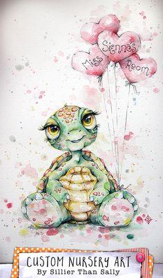 Cute Baby Turtle Custom Nursery Art by Sillier Than Sally. Original Watercolor Art for girls room. Whimsical nursery room art, Water colour painting.