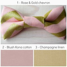 Men's blush & champagne bowties pearl pink blush rose and gold chevron linen groomsmen bow tie by NBrynnDesign, $11.95
