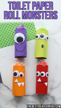 TOILET PAPER ROLL MONSTERS - such a fun Halloween craft for kids! These toilet paper roll monsters are so fun and easy to make! Kids can create their own design with googly eyes and pom poms! Halloween Crafts For Kids, Crafts For Kids To Make, Diy Halloween, Projects For Kids, Kids Crafts, Decor Crafts, Diy Projects, Crafts For Children, Kids Birthday Crafts
