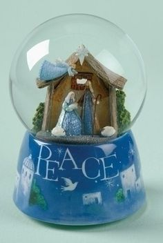 "Muscial Nativity ""Peace"" Christmas Glitterdome by Roman. $28.99. Musical Nativity ""Peace"" Christmas Snow DomesFrom the Glitterdomes Collection, By Roman Inc. Item #39144Dimensions: 5.75""H x 3.94""W x 3.94""LMaterials: Glass, ResinPlays the song ""Silent Night"""