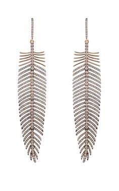 Silvia Furmanovich Jewelry Diamond Feather Earrings #feathers
