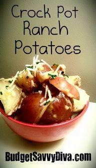 Gluten  Free!  3 Pounds Red Potatoes  1 Cup Water  2 Cloves Minced Garlic  1/2 Cup Ranch Dressing  1/4 Cup Cheddar  1/4 Cup Parmesan Cheese  Pinch Salt  1/2 tsp Garlic Powder  1/2 tsp Onion Powder  1/2 tsp Pepper  1/4 cup Minced Chives  Cook water, potatoes, and garlic in crockpot on LOW for 8 hrs.  Stir in cheeses, pepper, salt, onion powder, garlic powder, chives; ranch dressing. ENJOY