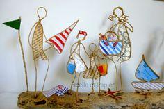 A la plage en famille - Figurines en ficelle et papier