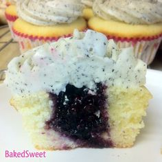 Blueberry Earl Grey Cupcakes by Baked Sweet Mini Cupcake Pan, Cupcake Shops, Cupcake Cakes, Blueberry Desserts, Cookie Desserts, Blueberry Cupcakes, Tea Recipes, Cupcake Recipes, Cupcake Ideas