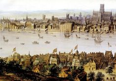 Elizabethan Theaters, flying flags to signal that a Play is in progress-- The Rose (1587), Swan (1595), Globe (1599) and Hope (1614) were all built on London's Southbank. Although the Globe is probably the most well-known due to its modern replication, the Rose is the most important archaeologically as it provided the first full plan of a London Tudor playhouse.