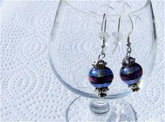 Paula Radke Designer Dichroic Glass Earrings Dichroic Earrings Designer Earrings Glass Earrings Dangle Earrings Blue Earrings Pink Earrings
