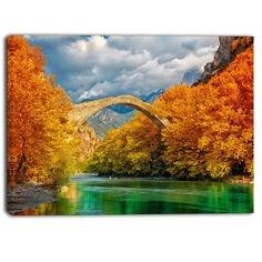 Konitsa Bridge, Ioannina, Greece, in autumn. Vermont, Agriculture, Places In Greece, Autumn Forest, Autumn Fall, Greek Islands, Montage, Belle Photo, Canvas Art Prints