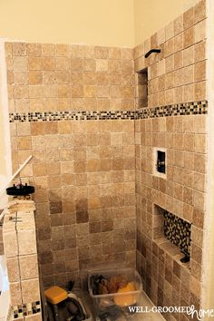 Remodeling the Master Bath, Part 1; shower tile design with travertine and glass mosaic