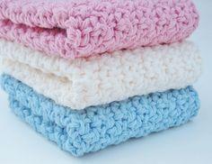 Handmade Spark - Peanuts Creations - Crochet Washcloth Dishcloth Cotton Rose Pink, Blue, Cream Set of 3