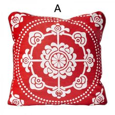 Chinoiserie red flowers pillows paper cut flower sofa cushions for sale online