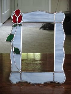 Stained Glass Rose Picture Frame - Light Grey Spectrum glass with single Red Rose