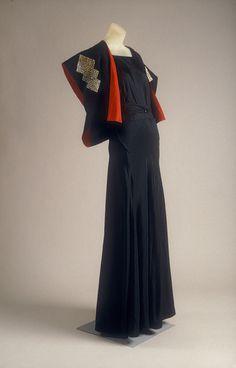 Evening ensemble, ca. 1934  Jeanne Lanvin (French, 1867–1946)  Black silk taffeta with metal plaques