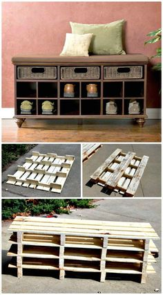 How To Build Pallet Shoe Storage Entryway Bench  - 100 Ultimate DIY Entryway Ideas That You Can DIY Easily - DIY & Crafts