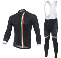 Italy Black Long Sleeve Cycling Jersey Set