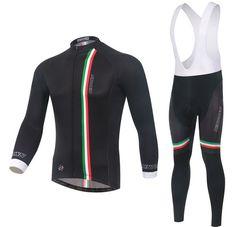 3e1c49f0b Italy Black Long Sleeve Cycling Jersey Set Cycling Clothes