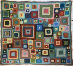 This looks like a Klimt painting! Crochet Blocks, Afghan Crochet Patterns, Crochet Granny, Knit Or Crochet, Crochet Afghans, Crochet Cushion Cover, Crochet Cushions, Cushion Covers, Plaid