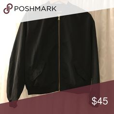 EXPRESS - Black Bomber Coat - women's size Medium EXPRESS - Black Bomber Coat - women's jacket - size Medium - Brand New without tag - beautiful gold zipper - nice nylon and poly material - gorgeous Express Jackets & Coats