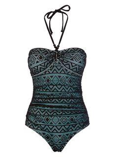 Black and Blue Crochet Bandeau Swimsuit