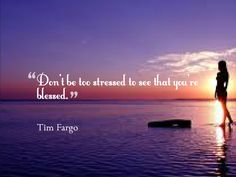 Don't be too stressed to see that you're blessed. - Tim Fargo #quote