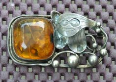 Vintage Sterling Silver Russian Amber sterling Brooch by MjMirage