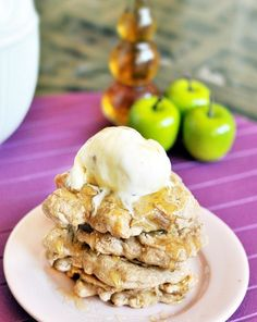 These apple pie pancakes are like eating dessert for breakfast... but it's healthy!
