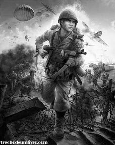 US soldier in Military Drawings, Military Tattoos, Military Art, Military History, War Tattoo, Ww2 Pictures, Man Of War, American Soldiers, Aviation Art