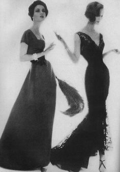 November Harper's Bazaar, 1956  by Lillian Bassman  Left model is wearing a bright red satin gown by Charles Cooper.
