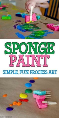 Sponge Painting Process Art: Super quick and easy toddler art activity; indoor a… Sponge Painting Process Art: Super quick and easy toddler art activity; fun process art for toddlers and preschoolers Toddlers And Preschoolers, Art Activities For Toddlers, Infant Activities, Art Projects For Toddlers, Easy Crafts For Toddlers, Easy Toddler Crafts 2 Year Olds, Activities For 4 Year Olds, Arts And Crafts For Kids Toddlers, Playgroup Activities