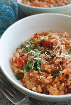 Tomato, Sausage, Spinach Risotto ~ Looks amazing! Think it would be great with some added bacon..., YumYum!