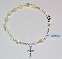 Mother of Pearl Cross Rosary Bracelet. Rosary Bracelet, Rosary Beads, Our Lady Of Lourdes, One Decade, Religious Gifts, Crucifix, Memories, Pearls, Pendant