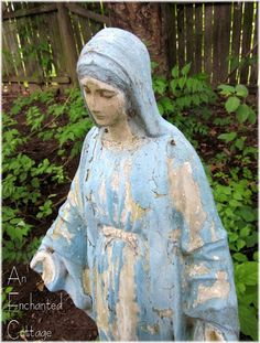 I love the faded paint on this lovely Mary statue.