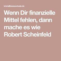 Wenn Dir finanzielle Mittel fehlen, dann mache es wie Robert Scheinfeld