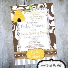 BABY SHOWER Honey Invite Printable party by luvbugdesign on Etsy, $14.00
