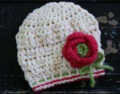 Toddler Girl's Winter Hat  in Ivory Azalea and by rubywebbs, $27.00