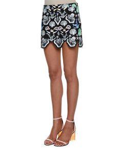Emilio Pucci Sleeveless Seashell-Print Top & Mid-Rise Shorts, Acqua/Zaffiro