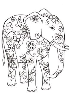 Free Coloring Sheet Elephant – Elephant Coloring Pages Free Adult Coloring Pages, Free Coloring Sheets, Animal Coloring Pages, Colouring Pages, Coloring Books, Embroidery Flowers Pattern, Embroidery Patterns Free, Pattern Flower, Embroidery Art