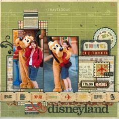cute scrapbooking layout. disneyland with pluto. #disney #scrapbooking