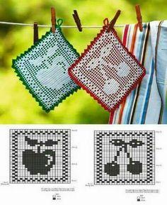 Crochet Potholder Patterns, Crochet Bedspread Pattern, Vintage Crochet Patterns, Crotchet Patterns, Crochet Dishcloths, Crochet Designs, Crochet Hot Pads, Cute Crochet, Knit Crochet