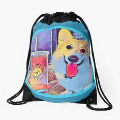 Corgi and tea Laptop Case, Laptop Skin, Corgi Dog, Iphone Phone Cases, Drawstring Backpack, Dog Lovers, Tea, Tote Bag, Purses