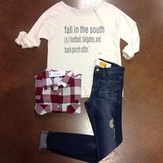 [ south ]  NEW Ivory Fall In a The South Sweatshirt $44 [online + in store] Red Plaid Flannel [last one size small] $36 Vintage Washed Skinny [made in USA] $72 #fall #southern #fallstlye #football #tailgates #elysianlove