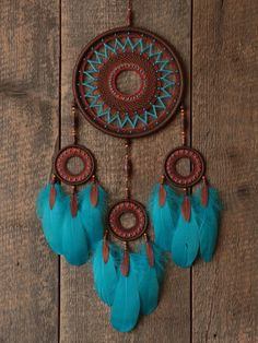 Dream catcher / Brown and blue dream catcher / by MyHappyDreams