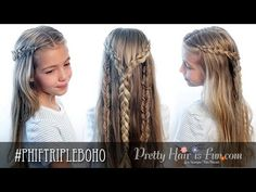 How To: Triple Boho Braid | Pretty Hair is Fun - YouTubeBraid Hairstyles, Braids, braids tutorial, braids for short hair, braids for short hair tutorial, braids for long hair, braids for long hair tutorials...