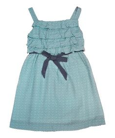 Look what I found on #zulily! Teal Rice Ruffle Dress - Toddler & Girls by Periwinkle #zulilyfinds