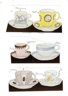 Printable cups. Not for drinking. Cute pattern. Free.