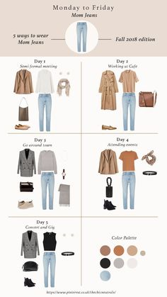 5 ways of styling mom jeans basic jeans for fall 2018 fall outfits for women fall fashion trend items work outfits chic outfits casual outfits fallfashion fallstyle falloutfits capsulewardrobe workoutfits ootd jeans denim Capsule Outfits, Fashion Capsule, Fall Capsule Wardrobe, Capsule Wardrobe How To Build A, Plus Size Capsule Wardrobe, Fall Fashion Trends, Autumn Fashion, Fashion Ideas, Outfit Chic