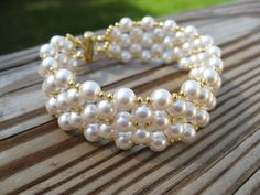 Wall of Pearls cuff bracelet  made to order by besboutique on Etsy, $50.00