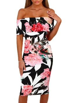 Chic Black Multi Floral Bardot Bodycon Midi Dress MB61536-2 – ModeShe.com