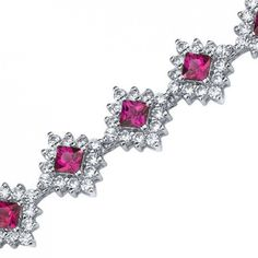 Princess Cut Ruby and White CZ Bracelet in Sterling Silver Style Sb3812